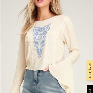 Lulus Embroidered Blouse